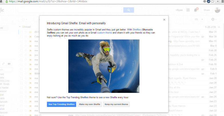 Gmail rides the wave of Selfies with Shelfies